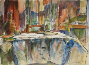 1949-interieur~water-colour-on-paper~27cm-x-36cm