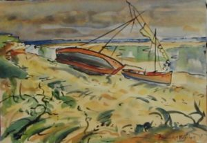 1949-low-tide-with-boats~water-colour-on-paper~16cm-x-22cm
