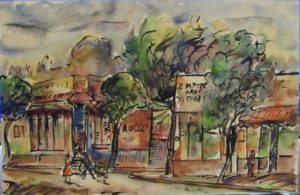 1949-street-front-shops-in-johannesburg~water-colour-on-paper~19cm-x-28cm