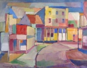 1953-sunday-town-scape-oil-on-hard-board-43cm-x-54cm-unframed-section-8-no-273-artists-collectionimg_0111