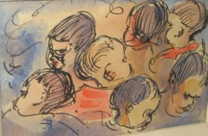 1954-study-of-young-boys-head-water-colour-on-paper-9cm-x-14-5cm-framed-with-glass-section-10-no-96-dm-jnr-collection