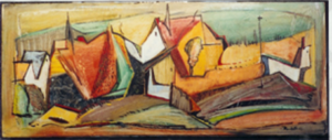 1957-abstracted-town-scape-oil-on-hard-board-80cm-x-33cm-unframed-section-9-no-249-artists-collection-x