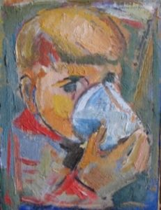 1957-child-with-cup-oil-on-hard-board-24cm-x-175cm-unframed-section-2-no-143-artists-collection-img_0098