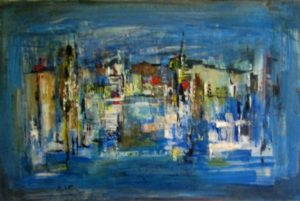 1960-city-on-the-water-front-oil-on-hard-board-61cm-x-91cm-unframed-section-9-no-269-artists-collectionimg_0083