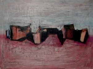 1961-abstracted-homes-and-stables-oil-on-hard-board-46cm-x-61cm-unframed-sandri-no-268-artists-collection-for-sale-r45-000img_0082_0