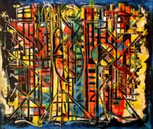 1986-check-sasol-acrylic-and-oil-on-canvas-505cm-x-61cm-framed-johannesburg-no-115-gerrit-m-collection