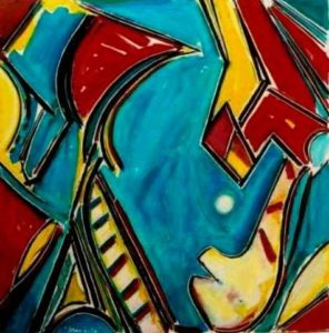 2006-blue-and-red-acrylic-on-canvas-84cm-x-84cm-unframed-section-11-no-321-artists-collection